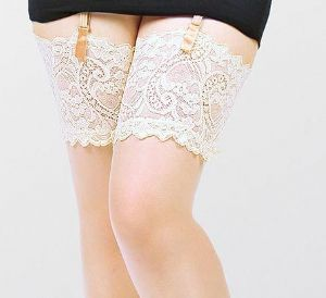 Plus Size Stockings with Deep Lace Tops in Black or Ivory up to UK 32